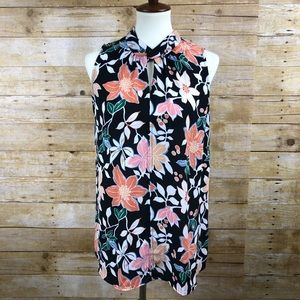 Loft Floral Sleeveless Blouse Sz M